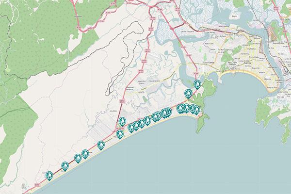 Mapa de câmeras de praia grande ao vivo