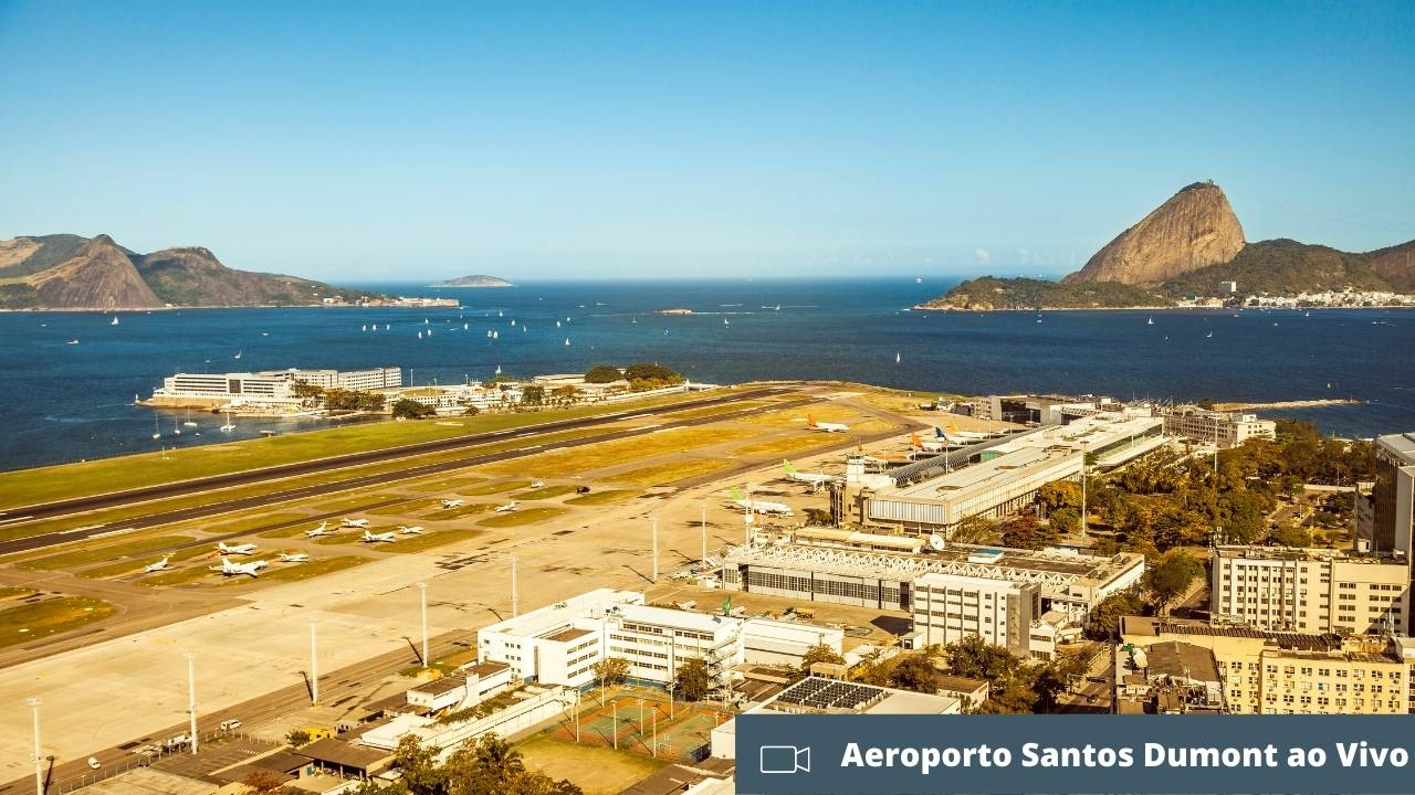 Imagem aérea do aeroporto Santos Dumont ao vivo.